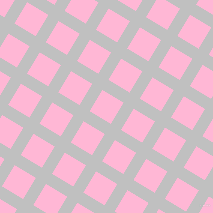 59/149 degree angle diagonal checkered chequered lines, 38 pixel line width, 80 pixel square size, Silver and Cotton Candy plaid checkered seamless tileable