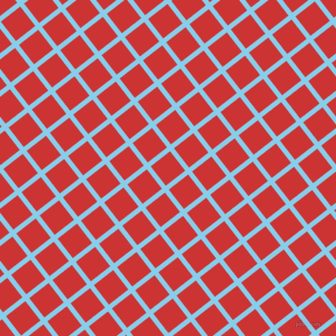 38/128 degree angle diagonal checkered chequered lines, 7 pixel line width, 35 pixel square size, Sky Blue and Persian Red plaid checkered seamless tileable