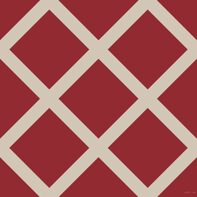45/135 degree angle diagonal checkered chequered lines, 42 pixel line width, 181 pixel square size, Stark White and Bright Red plaid checkered seamless tileable