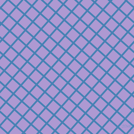 48/138 degree angle diagonal checkered chequered lines, 6 pixel line width, 32 pixel square size, Steel Blue and Biloba Flower plaid checkered seamless tileable