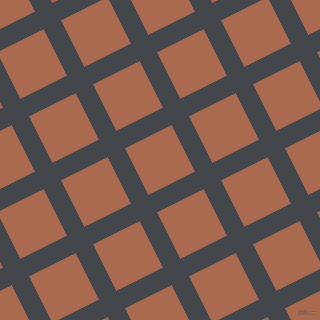 27/117 degree angle diagonal checkered chequered lines, 40 pixel lines width, 106 pixel square size, Steel Grey and Sante Fe plaid checkered seamless tileable