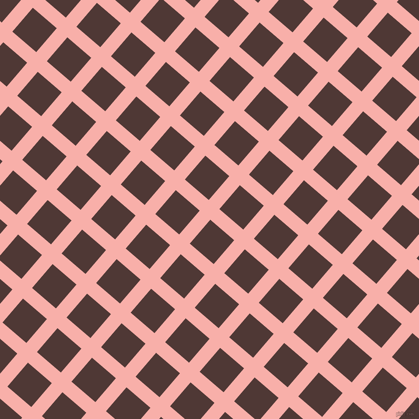 49/139 degree angle diagonal checkered chequered lines, 28 pixel line width, 63 pixel square size, Sundown and Cocoa Bean plaid checkered seamless tileable