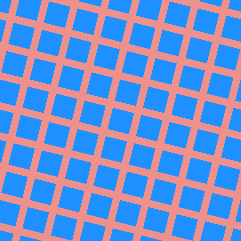 76/166 degree angle diagonal checkered chequered lines, 24 pixel lines width, 71 pixel square size, Sweet Pink and Dodger Blue plaid checkered seamless tileable