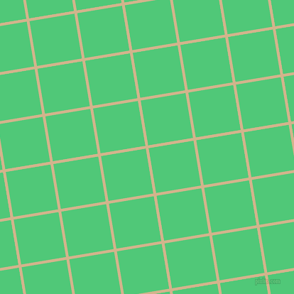 9/99 degree angle diagonal checkered chequered lines, 4 pixel line width, 64 pixel square size, Tan and Emerald plaid checkered seamless tileable