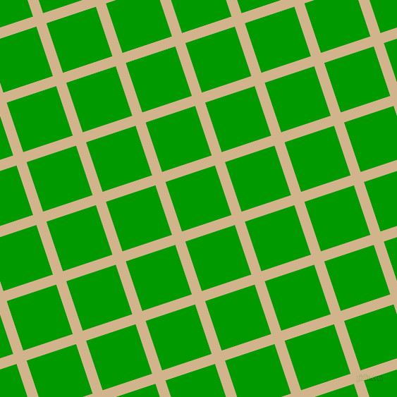 18/108 degree angle diagonal checkered chequered lines, 15 pixel lines width, 74 pixel square size, Tan and Islamic Green plaid checkered seamless tileable