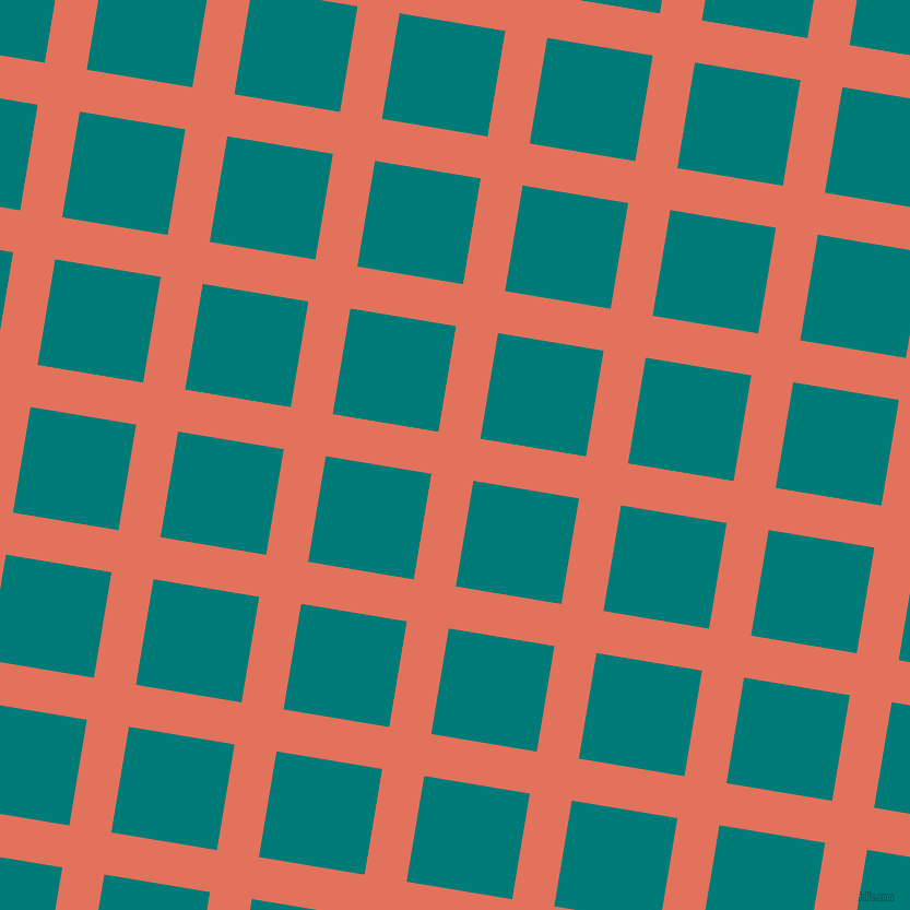 81/171 degree angle diagonal checkered chequered lines, 39 pixel lines width, 98 pixel square size, Terra Cotta and Surfie Green plaid checkered seamless tileable