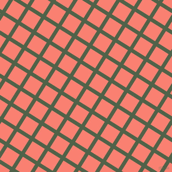 58/148 degree angle diagonal checkered chequered lines, 13 pixel lines width, 50 pixel square size, Tom Thumb and Salmon plaid checkered seamless tileable