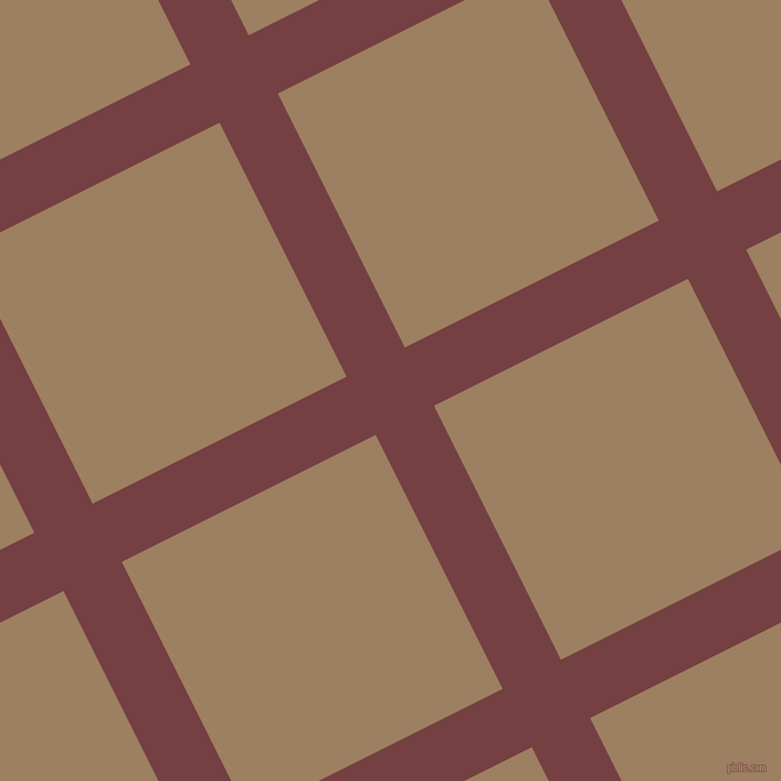 27/117 degree angle diagonal checkered chequered lines, 59 pixel line width, 257 pixel square size, Tosca and Sorrell Brown plaid checkered seamless tileable