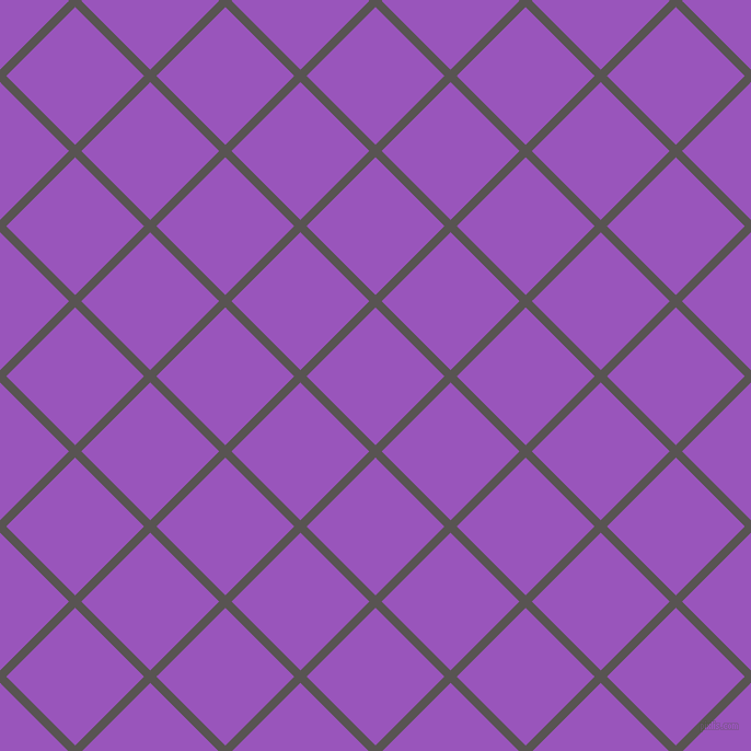 45/135 degree angle diagonal checkered chequered lines, 8 pixel lines width, 89 pixel square size, Tundora and Deep Lilac plaid checkered seamless tileable