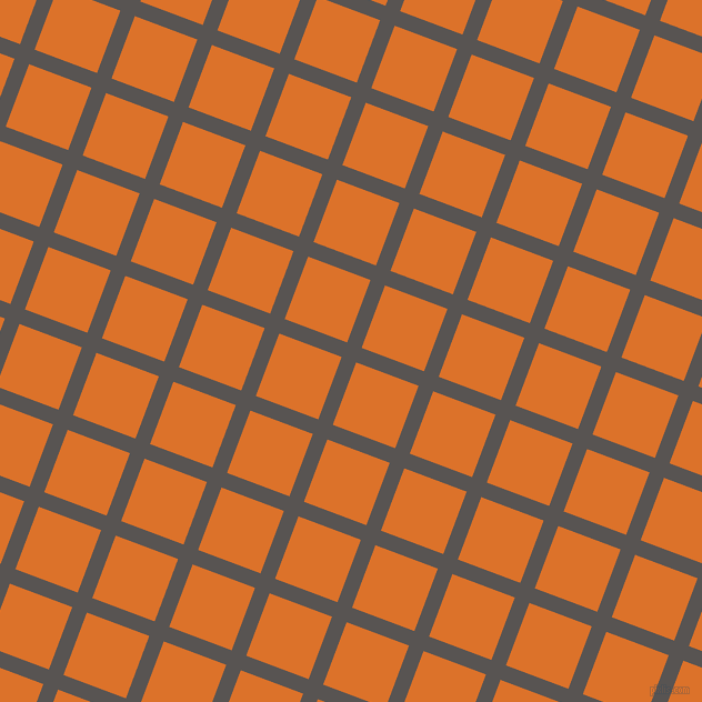 69/159 degree angle diagonal checkered chequered lines, 14 pixel lines width, 60 pixel square size, Tundora and Tahiti Gold plaid checkered seamless tileable