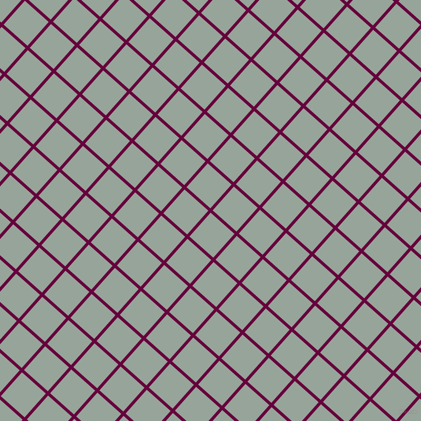 48/138 degree angle diagonal checkered chequered lines, 6 pixel line width, 62 pixel square size, Tyrian Purple and Edward plaid checkered seamless tileable