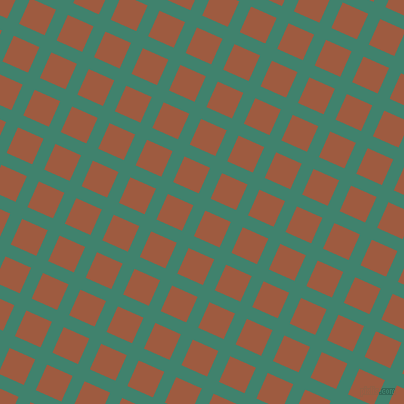 66/156 degree angle diagonal checkered chequered lines, 13 pixel lines width, 28 pixel square size, Viridian and Sepia plaid checkered seamless tileable