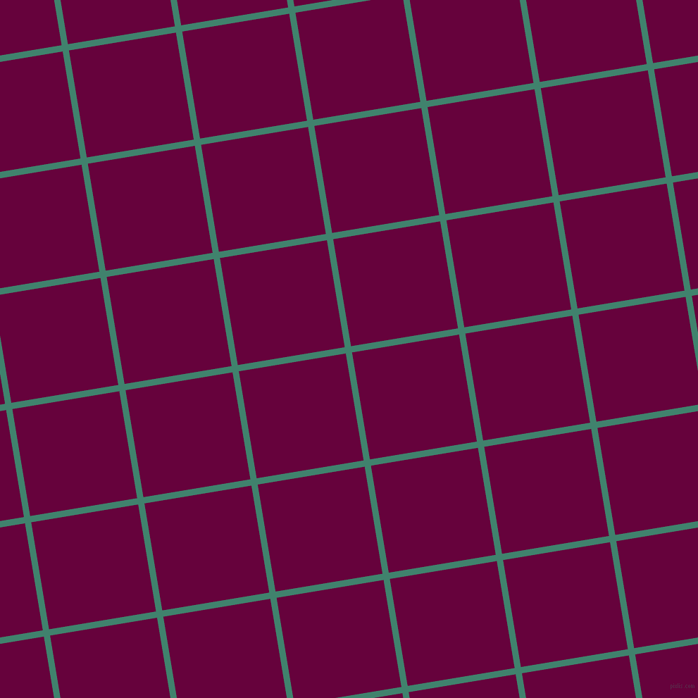 9/99 degree angle diagonal checkered chequered lines, 9 pixel line width, 154 pixel square size, Viridian and Tyrian Purple plaid checkered seamless tileable