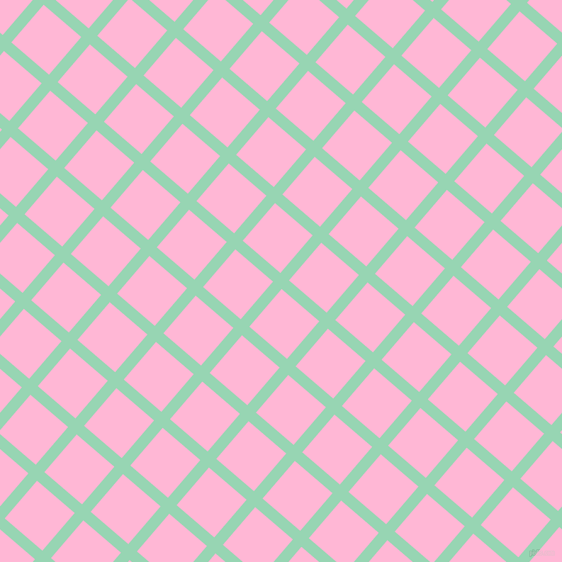 49/139 degree angle diagonal checkered chequered lines, 16 pixel lines width, 70 pixel square size, Vista Blue and Cotton Candy plaid checkered seamless tileable