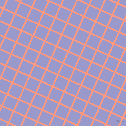 66/156 degree angle diagonal checkered chequered lines, 7 pixel lines width, 47 pixel square size, Vivid Tangerine and Blue Bell plaid checkered seamless tileable