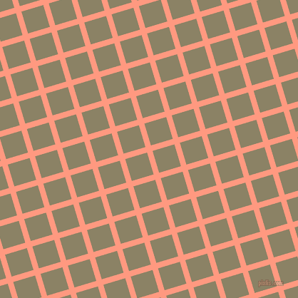 17/107 degree angle diagonal checkered chequered lines, 8 pixel lines width, 32 pixel square size, Vivid Tangerine and Granite Green plaid checkered seamless tileable