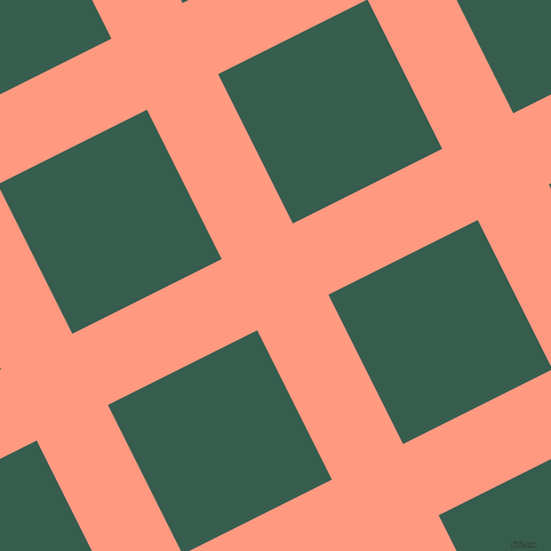 27/117 degree angle diagonal checkered chequered lines, 114 pixel line width, 239 pixel square size, Vivid Tangerine and Spectra plaid checkered seamless tileable
