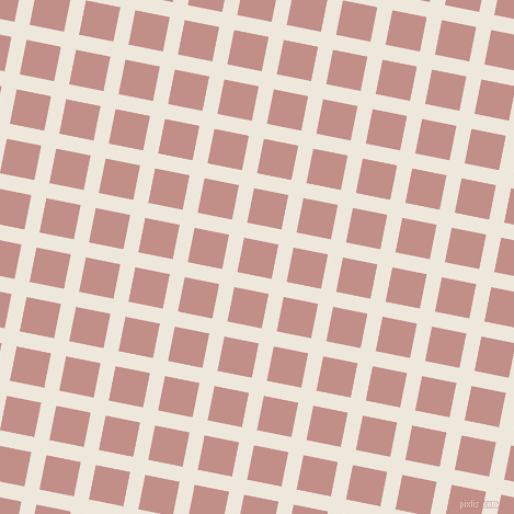79/169 degree angle diagonal checkered chequered lines, 14 pixel line width, 32 pixel square size, White Linen and Oriental Pink plaid checkered seamless tileable