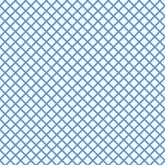 45/135 degree angle diagonal checkered chequered lines, 5 pixel lines width, 19 pixel square size, Wild Blue Yonder and Light Cyan plaid checkered seamless tileable