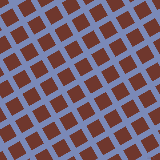 30/120 degree angle diagonal checkered chequered lines, 24 pixel line width, 57 pixel square size, Wild Blue Yonder and Mocha plaid checkered seamless tileable