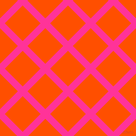 45/135 degree angle diagonal checkered chequered lines, 23 pixel lines width, 85 pixel square size, Wild Strawberry and International Orange plaid checkered seamless tileable