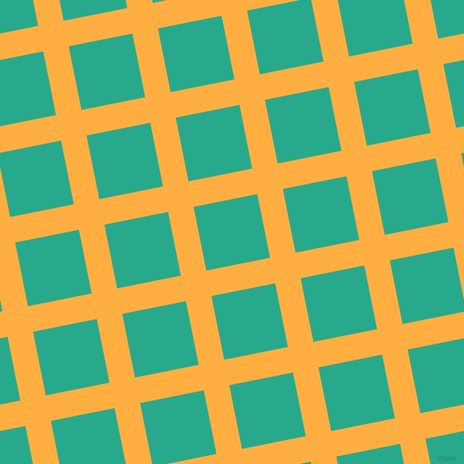 11/101 degree angle diagonal checkered chequered lines, 51 pixel lines width, 127 pixel square size, Yellow Orange and Niagara plaid checkered seamless tileable
