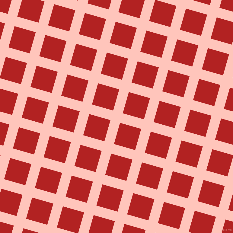 74/164 degree angle diagonal checkered chequered lines, 33 pixel lines width, 73 pixel square size, Your Pink and Fire Brick plaid checkered seamless tileable