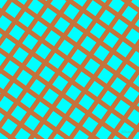 54/144 degree angle diagonal checkered chequered lines, 15 pixel line width, 37 pixel square size, Zest and Aqua plaid checkered seamless tileable